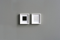 <em>b/w</em> (2005/2009), 2 Polaroid photographs, wooden frames, 16.8 × 18.8 cm/6.6 × 7inches each