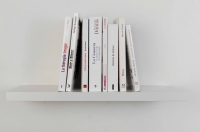 <em> Huit livres (Je t'aime)</em> [blanc], 2012<br> Eight French books, mdf bookshelf, 50 × 17.5 × 24.6 cm/19.7 × 6.9 × 9.7 inches